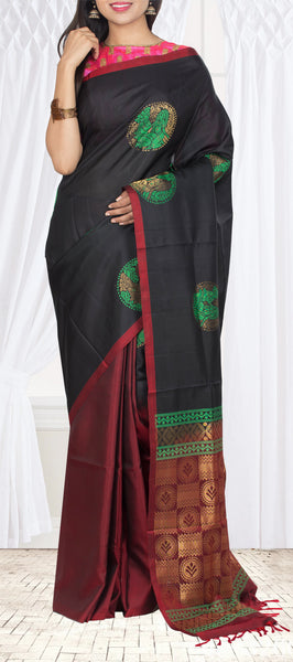Black & Maroon Borderless Pure Soft Silk Saree — Diwali Collection