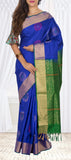 Evening Blue & Leaf Green Soft Silk Saree