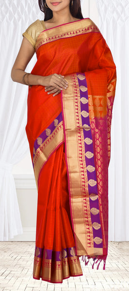 Dark Orange Lightweight Kanchipuram Silk Saree