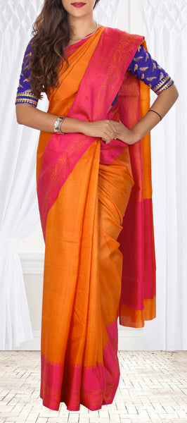 Orange & Dark Pink Tussar Silk Saree