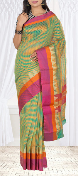 Checked Semi Silk Cotton Casual Saree With Multicoloured Border