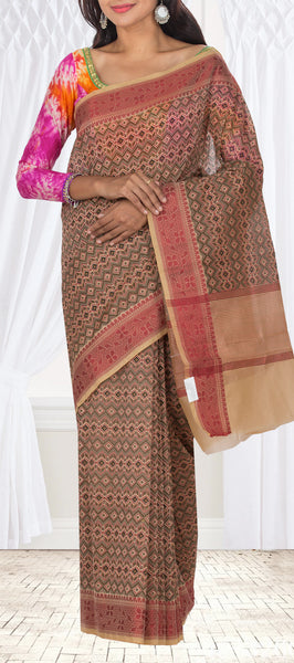 Black, Marroon, Pink & Beige Summer Cotton Saree