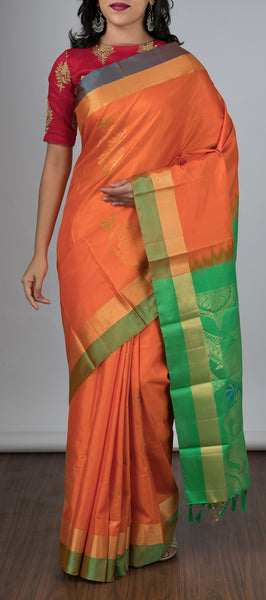 Orange Softsilk Saree