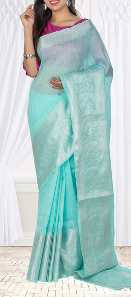 Light Turquoise Blue Semi Linen Saree