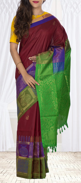 Maroon, Green & Purple Soft Silk Saree