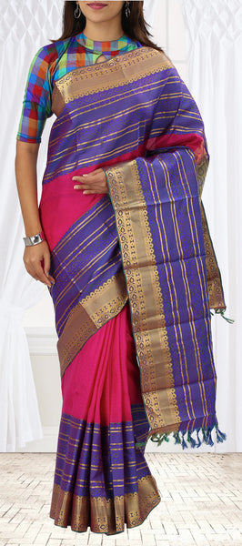 Dark Pink & Purple Lightweight Kanchipuram Silk Saree