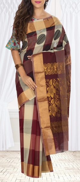 Brown & Beige Semi Silk cotton Saree