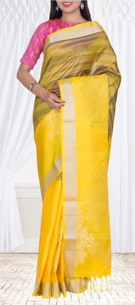 Bright Yellow Pure Soft Silk Saree — Diwali Collection