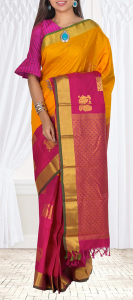 Orange & Pink Lightweight Kanchipuram Silk Saree