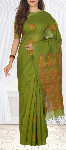 Dark Pista Green Silk Cotton Saree