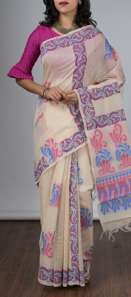 Cream Silk Cotton Saree with Block Prints