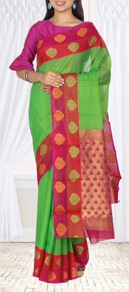 Bright Green, Purple & Red Silk Cotton Saree