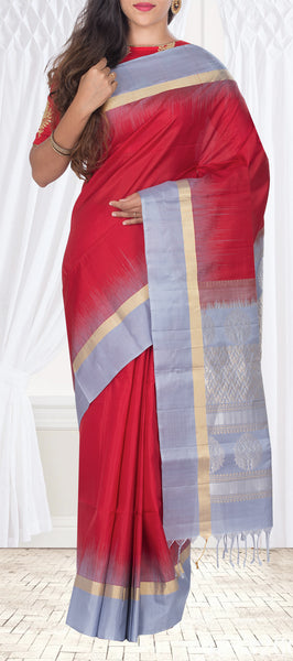 Red & Grey Soft Silk Saree With Half-Fine Zari