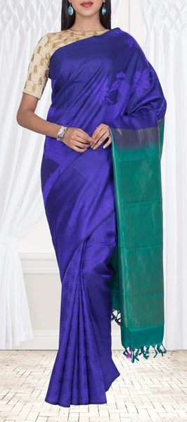 Dark Blue & Green Pure Soft Silk Saree