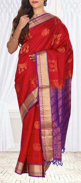 Red & Purple Lightweight Kanchipuram Silk Saree