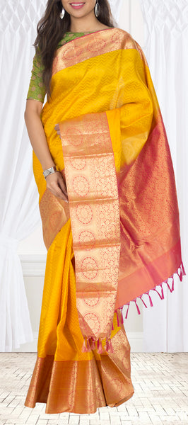 Mustard & Maroon Lightweight Kanchipuram Silk Saree