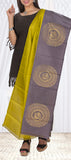 Greenish-Yellow & Grey Pure Kanchipuram Silk Dupatta