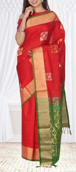 Brick Red & Green Soft Silk Saree With Half-Fine Zari