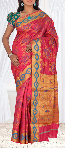 Candy Pink Semi Patola Casual Saree