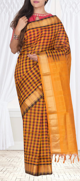 Mustard & Maroon Traditional Silk Cotton Saree