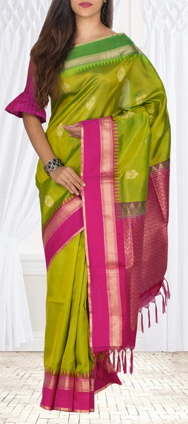 Chutney Green, Leaf Green & Pink Lightweight Kanchipuram Handloom Silk Saree
