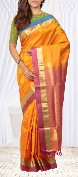 Orange, Pink & Blue Lightweight Kanchipuram Silk Saree