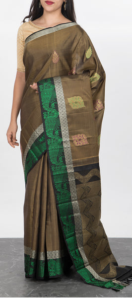 Olive Green Handloom kanchipuram Silk Saree