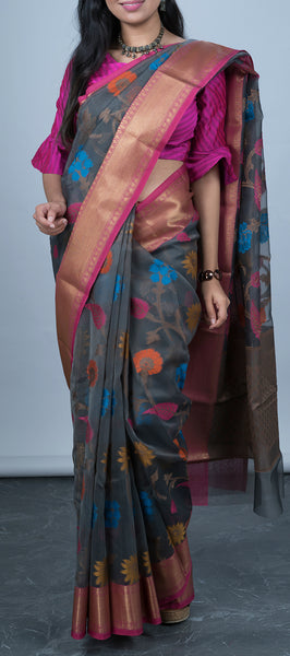 Grey Kota Cotton Saree