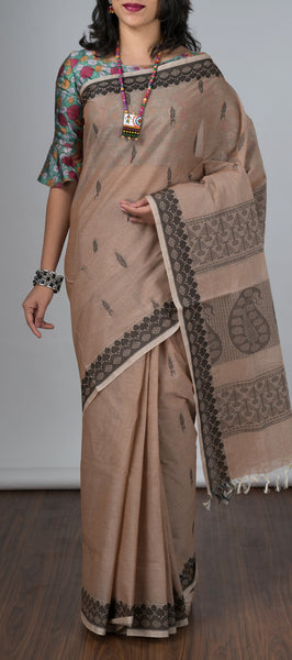 Cedar Brown Cotton Saree