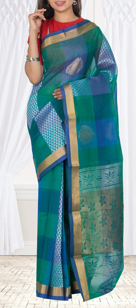 Teal Blue & Green Semi Silk Cotton Casual Saree