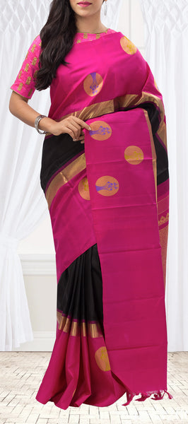 Black and Magenta Pink Pure Kanchipuram Handloom Silk Saree With Pure Zari