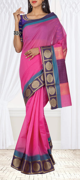 Dark Pink Semi Silk Cotton Casual Saree