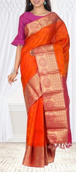 Orange & Purple Lightweight Kanchipuram Silk Saree