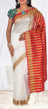 White & Red Semi Tussar Casual Saree
