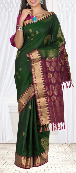 Dark Green & Purple Lightweight Kanchipuram Silk Saree