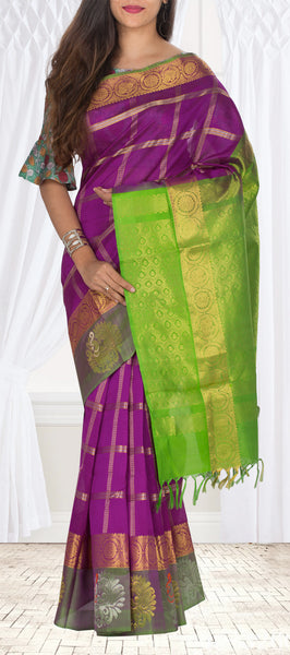 Purple & Green Traditional Silk Cotton Saree