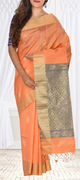 Peach & Grey Jute Silk Saree