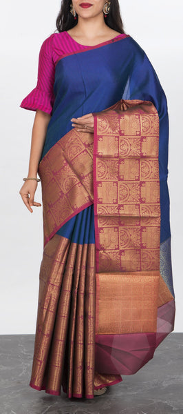 Dark Blue Tanchui Silk Saree