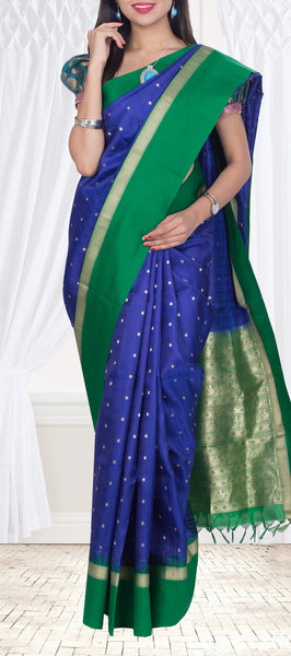Royal Blue & Dark Green Lightweight Kanchipuram Saree — Diwali Collection