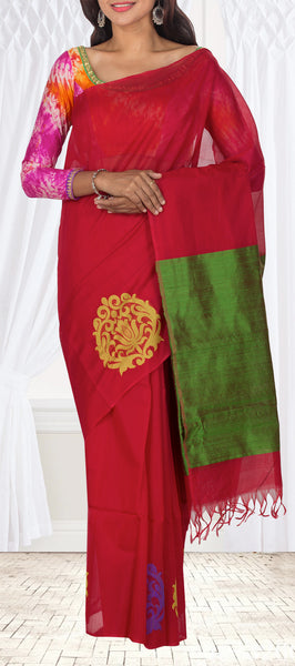 Kumkum Red Silk Cotton Saree With Jute Finish