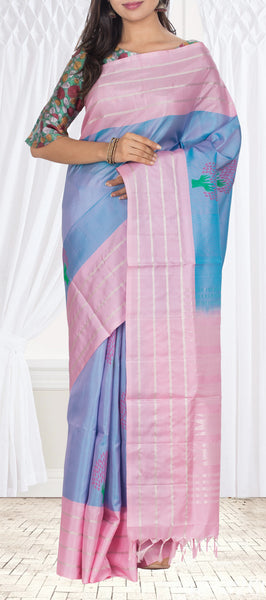 Sky Blue & Powder Pink Pure Soft SIlk Saree