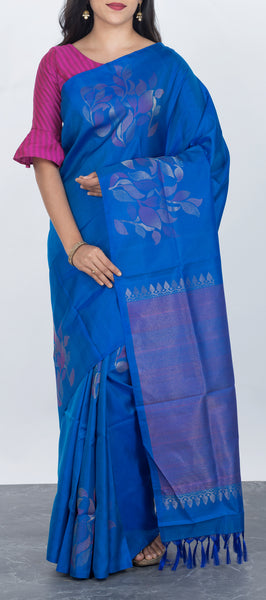 Navy Blue Borderless Softsilk Saree