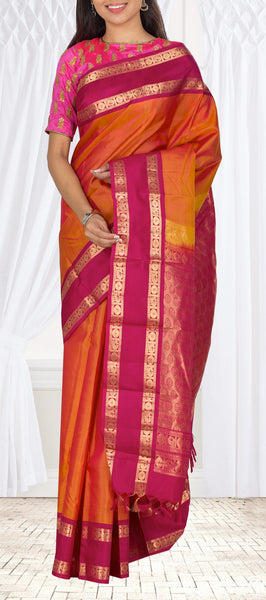 Orange & Dark Pink Lightweight Kanchipuram Handloom Silk Saree