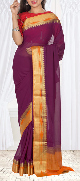 Burgandy & Purple Semi chiffon Casual Saree