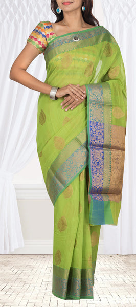 Green Semi Silk Cotton Casual Saree With Jute Finish