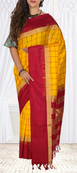 Mango Yellow & Maroon Red Soft Silk Saree