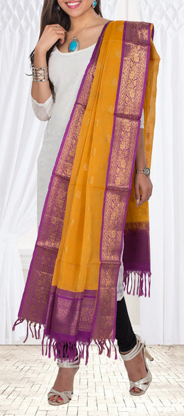 Orange & Purple Kora Silk Dupatta