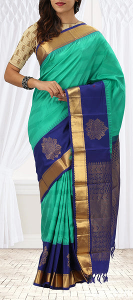 Coral Green & Dark Blue Pure Kanchipuram Handloom Silk Saree With Pure Zari