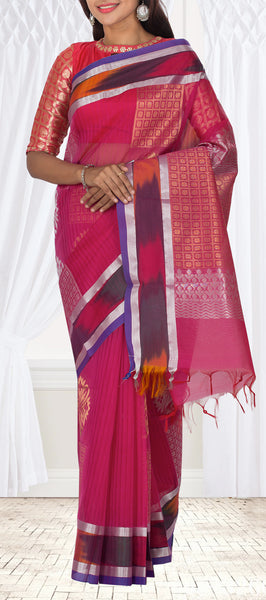 Pink Semi Silk Cotton Casual Saree