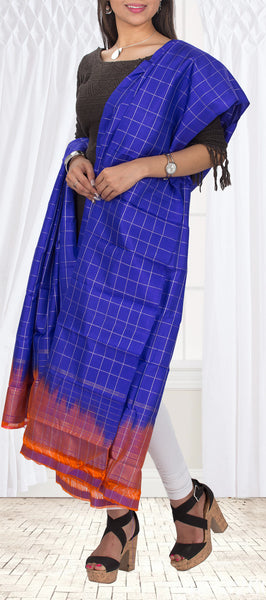 Royal Blue & Maroon Pure Kanchipuram Silk Dupatta